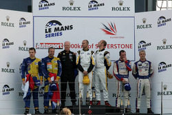 LMGT2 podium: class winners Rob Bell and Gianmaria Bruni, second place Jarek Janis and Tom Coronel, third place Raymond Narac and Patrick Pilet
