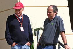Niki Lauda, Mercedes Non-Executive Chairman with Gerhard Berger