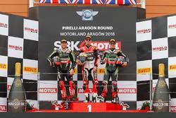 Podium : second place Tom Sykes, Kawasaki Racing Team, winner Chaz Davies, Aruba.it Racing - Ducati Team, third place Jonathan Rea, Kawasaki Racing Team