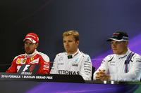 Formula 1 Foto - Press conference: Polesitter Nico Rosberg, Mercedes AMG F1 Team, second place Sebastian Vettel, Ferrari, third place Valtteri Bottas, Williams