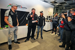 The Sahara Force India F1 Team celebrate 100 Grands Prix: Nico Hulkenberg, Sahara Force India F1, Otmar Szafnauer, Sahara Force India F1 Chief Operating Officer and Sergio Perez, Sahara Force India F1
