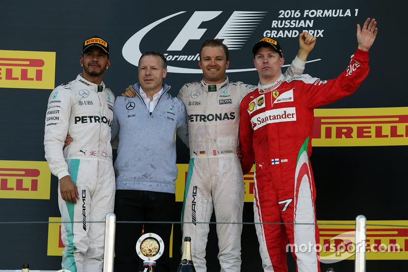 2016: 1. Nico Rosberg, 2. Lewis Hamilton, 3. Kimi Räikkönen
