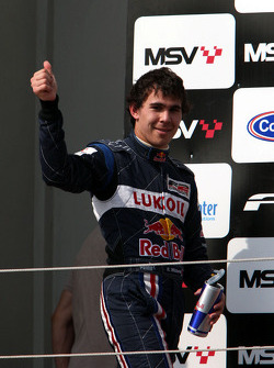 Second place Robert Wickens celebrates on the podium