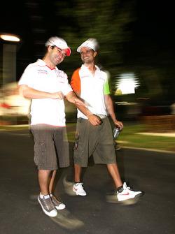 Timo Glock, Toyota F1 Team and Vitantonio Liuzzi, Force India F1 Team
