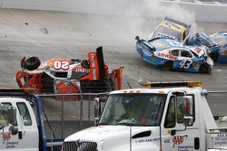 Major crash for Joey Logano, Joe Gibbs Racing Toyota