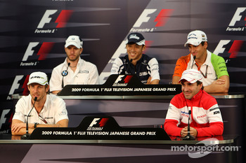 FIA press conference: Jenson Button, BrawnGP, Nick Heidfeld, BMW Sauber F1 Team, Kazuki Nakajima, Williams F1 Team, Kazuki Nakajima, Williams F1 Team, Adrian Sutil, Force India F1 Team, Timo Glock, Toyota F1 Team