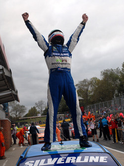 Jason Plato celebrates his hat-trick victory