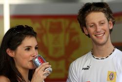Romain Grosjean, Renault F1 Team and his girlfriend, Marion Jolles