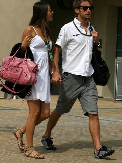 Jenson Button, Brawn GP with his girlfriend Jessica Michibata