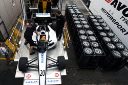 F2 Mechanics load the car of Jens Hoing into the trucks
