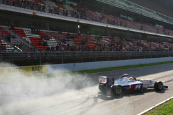 2009 F2 Champion Andy Soucek does doughnuts on the grid
