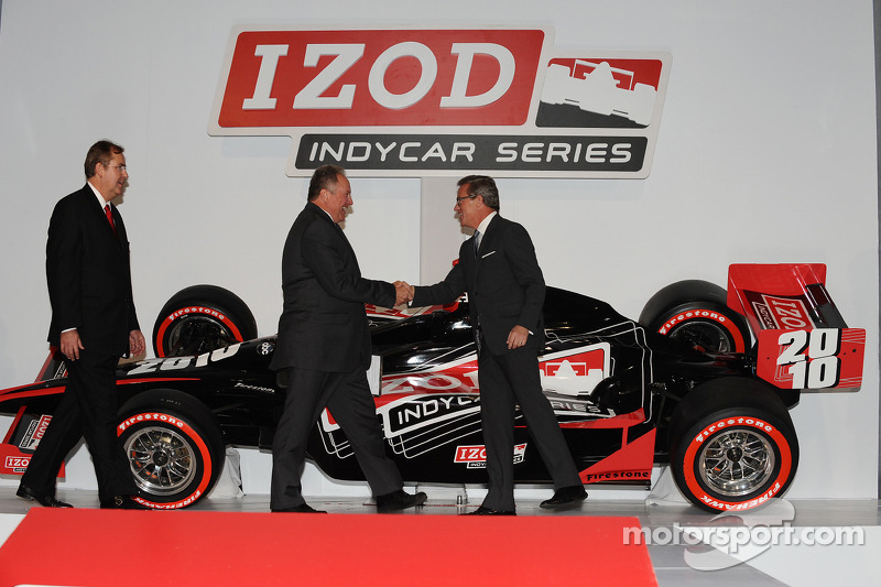 Mike Kelly, Executive Vice President of Marketing and Creative for Philips-Van Heusen (right) greets Brian Barnhart, President of Racing Operations for the Indy Racing League, (center) and Jeff Belskus, CEO of the Indianapolis Motor Speedway Corp.