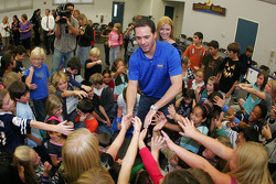 Four-time NASCAR Sprint Cup Champion Jimmie Johnson, Hendrick Motorsports Chevrolet, and his wife Chandra meets with students at his alma mater, Crest Elementary School in El Cajon, California