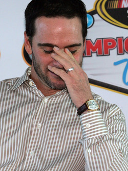 Four time NASCAR Sprint Cup Series Champion Jimmie Johnson speaks at Las Vegas Motor Speedway for the Champions Roast