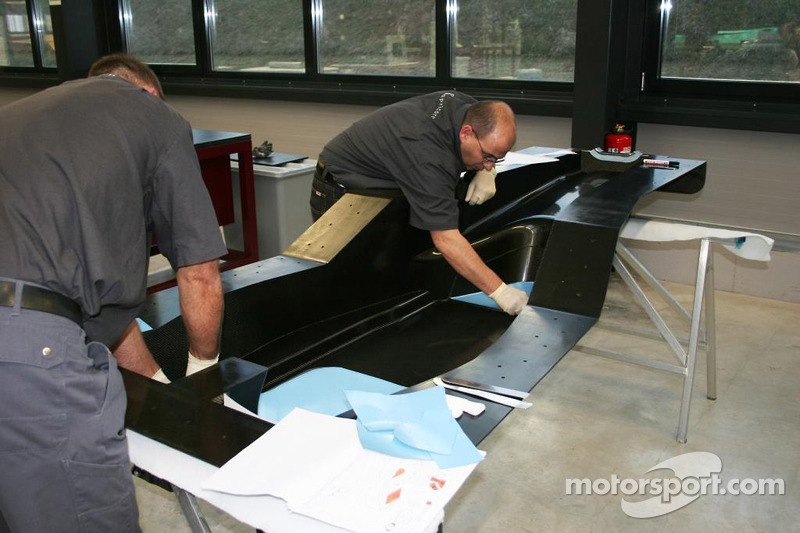 Engineers working on the monocoque