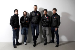 Alvaro Parente, test driver, Timo Glock, driver, Nick Wirth, Virgin Racing Technical Director, Lucas di Grassi, driver, and Luiz Razia, test driver