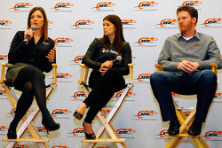 JR Motorsports co-owner and general manager Kelley Earnhardt answers a question Thursday Thursday at JR Motorsports in Mooresville, N.C. as No. 7 NASCAR Nationwide Series GoDaddy.com Chevrolet driver Danica Patrick and JR Motorsports co-owner Dale Earnhar