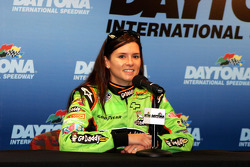 Danica Patrick, driver of the No. 88 JR Motorsports Chevrolet in the ARCA Racing Series meets with the media