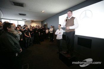 Ross Brawn introduces his new driver Michael Schumacher