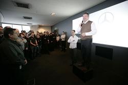 Ross Brawn introduces his new driver Michael Schumacher