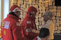 Giancarlo Fisichella and Fernando Alonso with Bernie Ecclestone