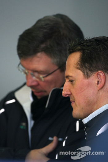 Michael Schumacher, Mercedes GP and Ross Brawn Team Principal, Mercedes GP