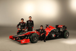 Timo Glock, Lucas di Grassi and Alvaro Parente with the new Virgin Racing VR-01