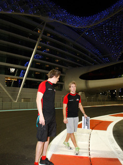 Sam Bird talks with his engineer during a track walk