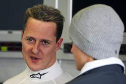 Michael Schumacher, Mercedes GP talks with Nico Rosberg, Mercedes GP
