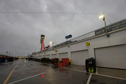 A rainy garage area