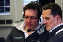 Andrew Shovlin, Mercedes GP Petronas, Senior Race Engineer to Michael Schumacher, Michael Schumacher, Mercedes GP Petronas