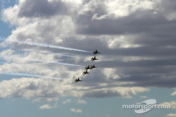 The Thunderbirds make the fly over