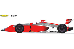 Rendering of the Lola 2012 B12/01 IndyCars