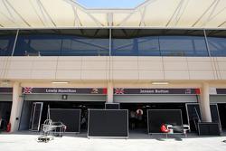 The garages of Lewis Hamilton, McLaren Mercedes, Jenson Button, McLaren Mercedes