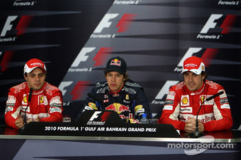 Pole winner Sebastian Vettel, Red Bull Racing, with second place Felipe Massa, Scuderia Ferrari and third place Fernando Alonso, Scuderia Ferrari