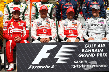 Fernando Alonso, Scuderia Ferrari with Jenson Button, McLaren Mercedes Lewis Hamilton, McLaren Mercedes and Michael Schumacher, Mercedes GP