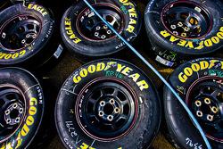 Tires sit on the concrete