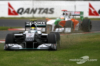Nico Rosberg, Mercedes GP, runs onto the grass