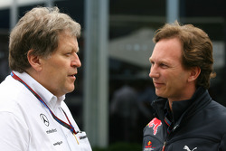 Norbert Haug, Mercedes, Motorsport chief and Christian Horner, Red Bull Racing, Sporting Director