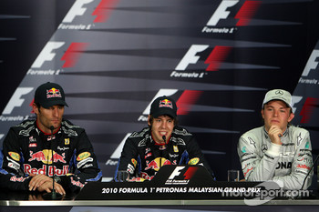 Post-race press conference: race winner Sebastian Vettel, Red Bull Racing, second place Mark Webber, Red Bull Racing, third place Nico Rosberg, Mercedes GP