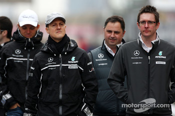 Michael Schumacher, Mercedes GP walk the circuit, Andrew Shovlin, Mercedes GP, Senior Race Engineer to Michael Schumacher