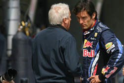 Charlie Whiting, FIA Safty delegate, Race director and offical starter and Mark Webber, Red Bull Racing