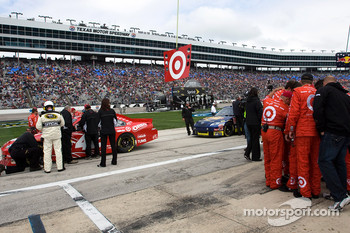 The No. 42 Target Chevrolet team prepares for the race
