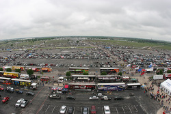 The parking lot at Texas Motor Speedway an hour before the Monday rainout date