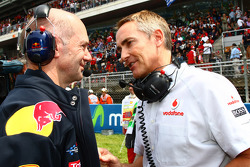 Adrian Newey, Red Bull Racing, Technical Operations Director with Martin Whitmarsh, McLaren, Chief Executive Officer