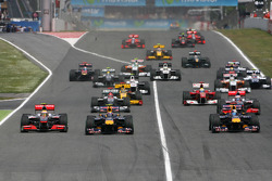Start of the race, Sebastian Vettel, Red Bull Racing and Mark Webber, Red Bull Racing