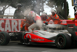 Jenson Button, McLaren Mercedes stop on track because of mechanical problem