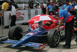 Paul Tracy, KV Racing Technology waits to qualify in the Indiana sun