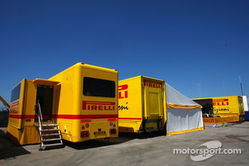 The Pirelli tyres used for GP3 racing, in the GP3 paddock