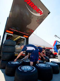 Arden International mechanics prepare tyres for the weekend